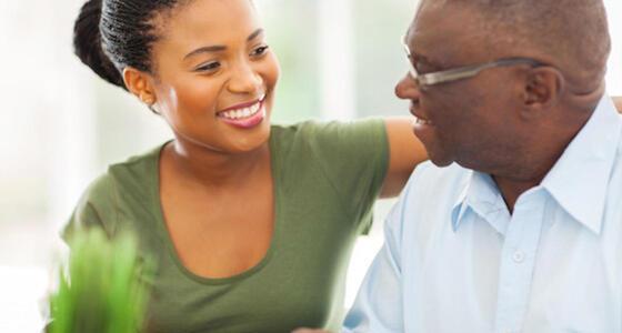 smiling elderly african american man